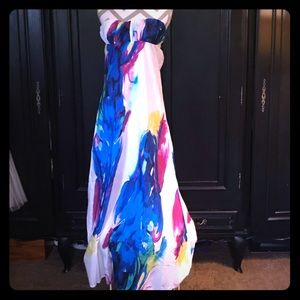 "Long strapless ""watercolor"" gown."